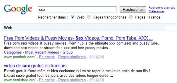 """position de google sur """"sex"""""""