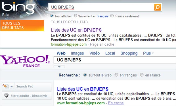 Bing et Yahoo