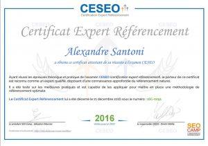 Certification Expert SEO d'Alexandre Santoni
