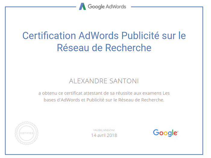 Certification Adwords de Alexandre Santoni