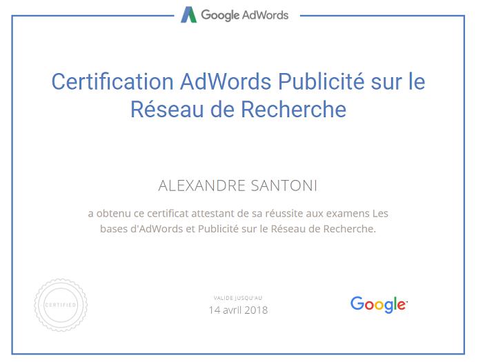 Certification Adwords de Alexandre Santoni