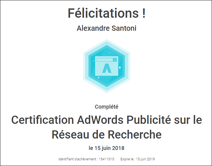 certification adwords alexandre santoni